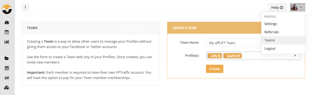 Create FPTraffic Team
