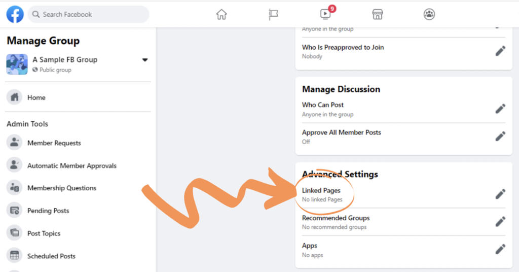 Linked Pages on Facebook Groups