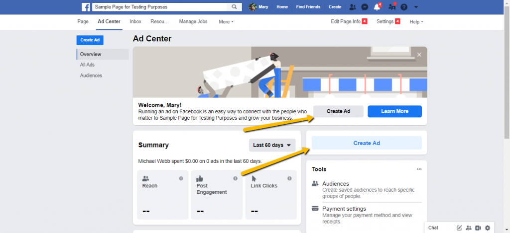 Create Ad on Facebook Page